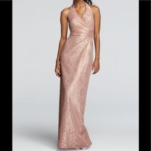 David's Bridal Gold Metallic Lace Halter Dress 8